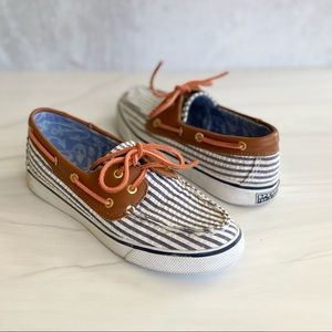 SPERRY Seersucker Textile Boat Shoe 6.5